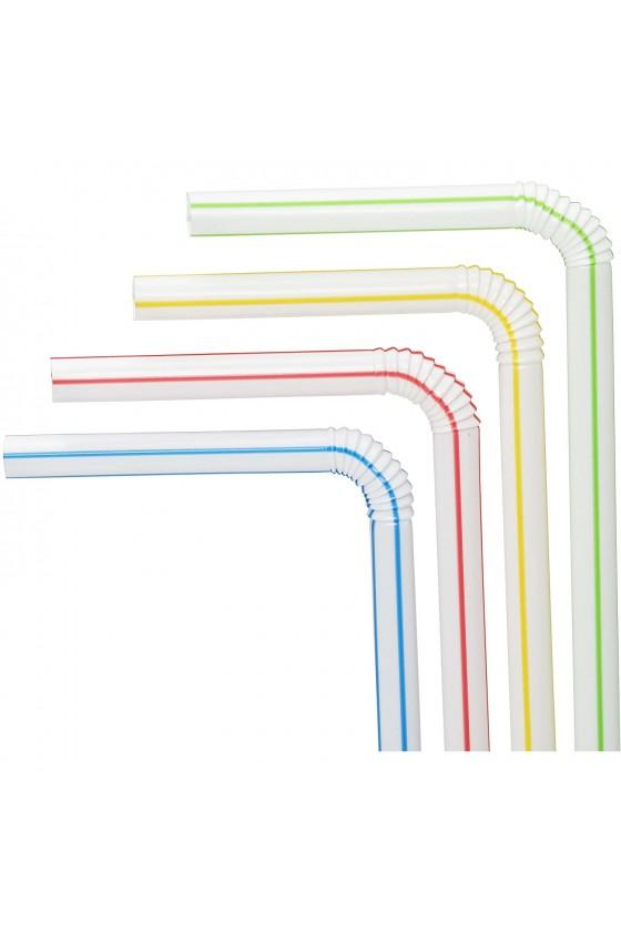 Bombillas plásticas flex bicolor 100 unidades