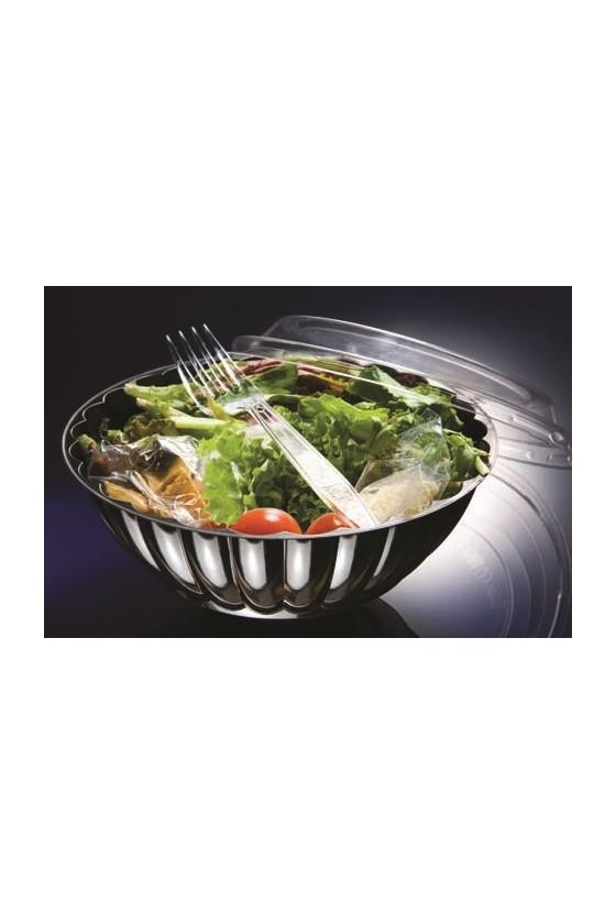 Bowl 32 oz plástico negro con tapa transparente