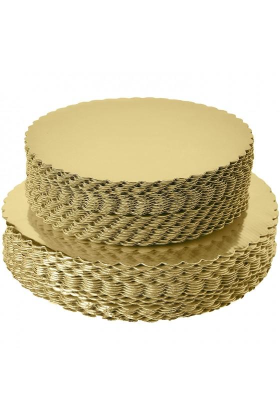 Disco para torta dorado 21 cm borde ondulado