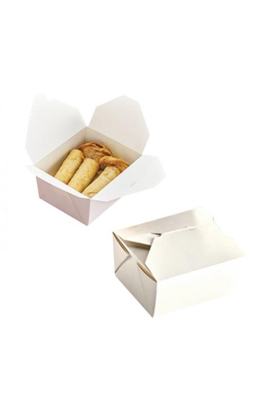 Caja para alimento de polipapel color blanco 45 oz