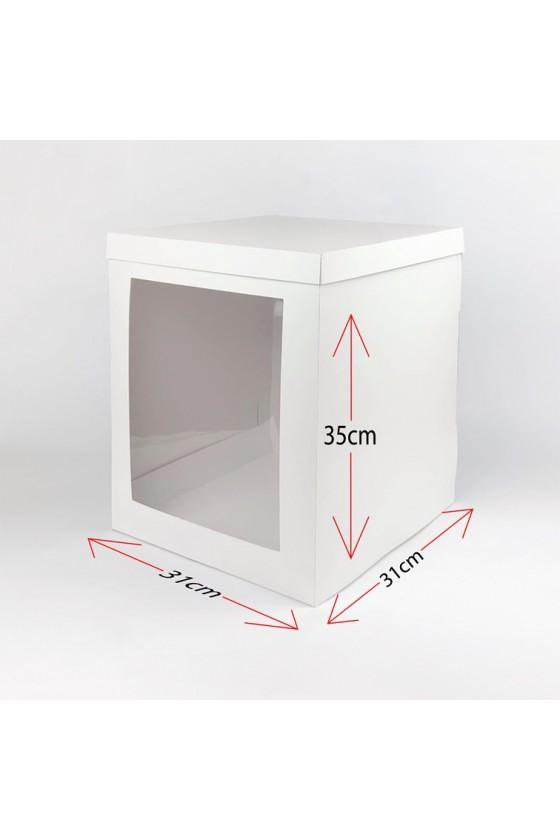 Caja para torta blanca con ventana grande
