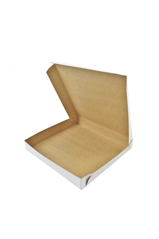 Caja de pizza blanca grande 32x32x4cm
