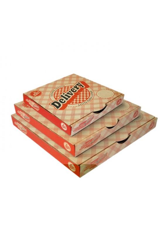 Caja de pizza corrugada delivery chica 25x25x4cm