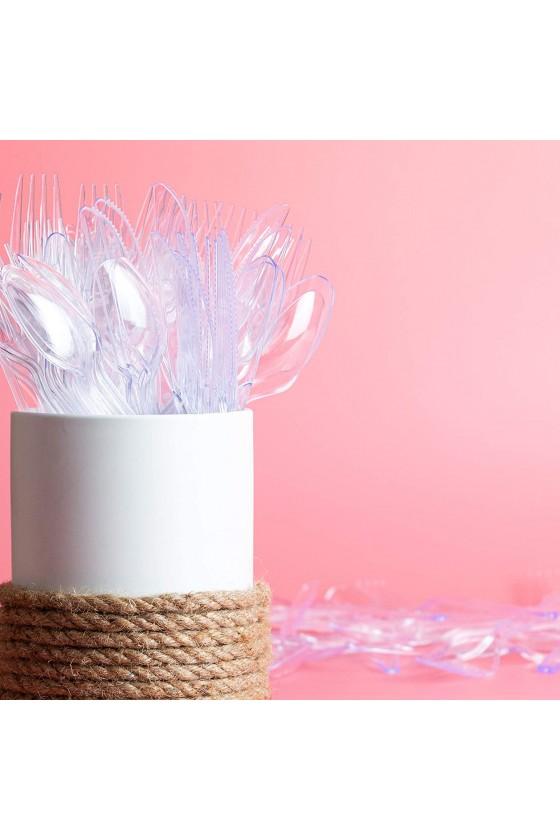 Cuchara de plástico transparente para postre