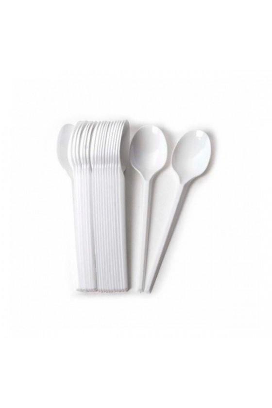 cuchara postre plástica blanca
