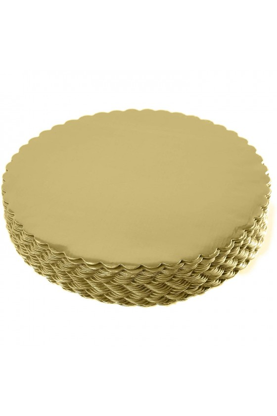 Disco para torta dorado 26 cm borde ondulado