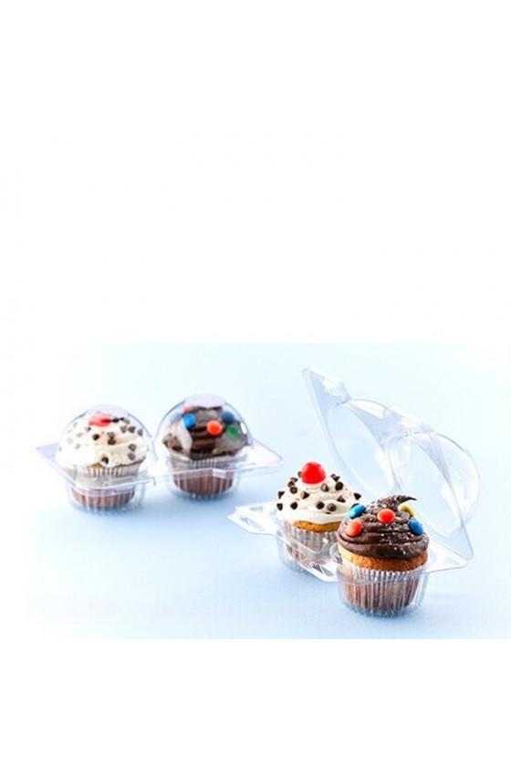Envase plástico para 2 cupcake