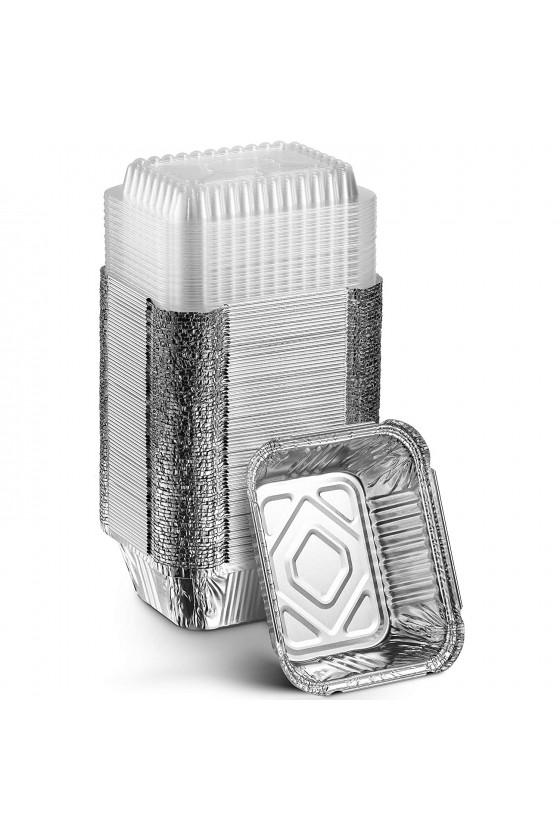 Envase de aluminio C-10 con tapa transparente