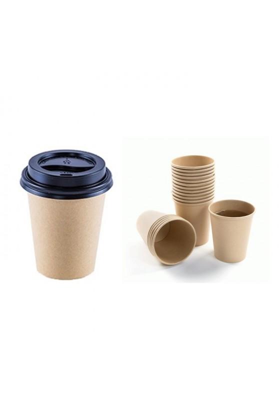 Vaso polipapel kraft 8oz con tapa