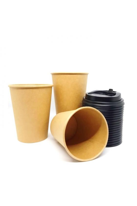 Vasos polipapel kraft 12oz con tapa