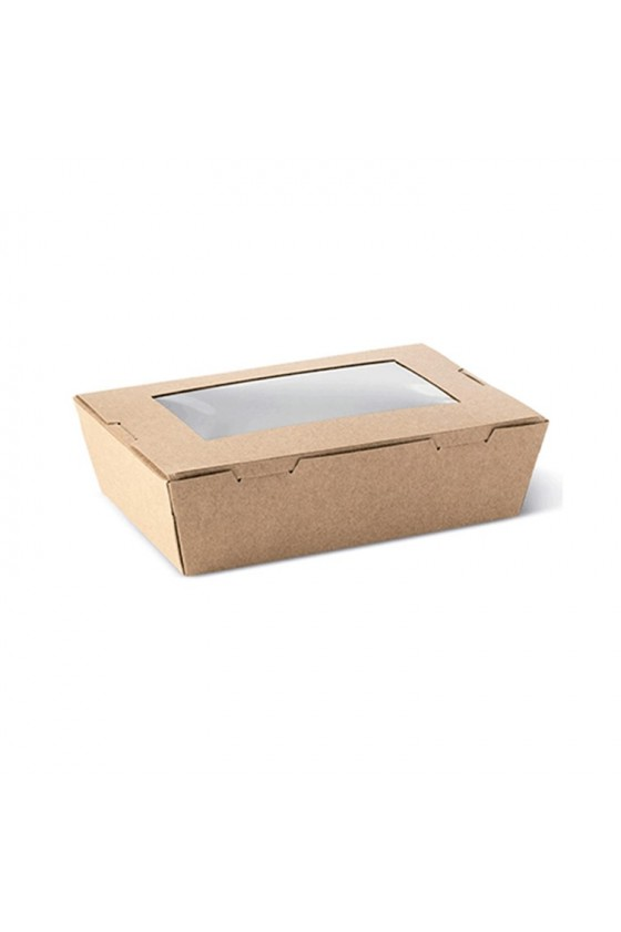 Caja kraft con ventana 500 ml