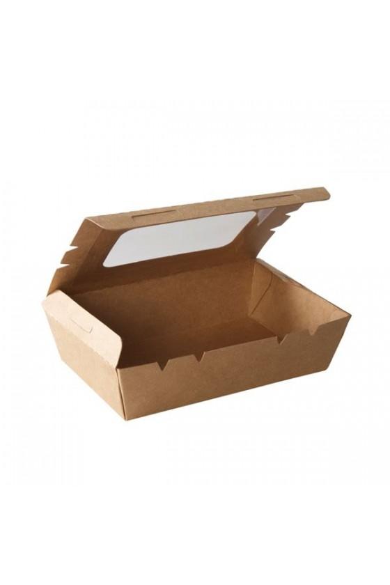 Caja kraft con ventana 900 ml